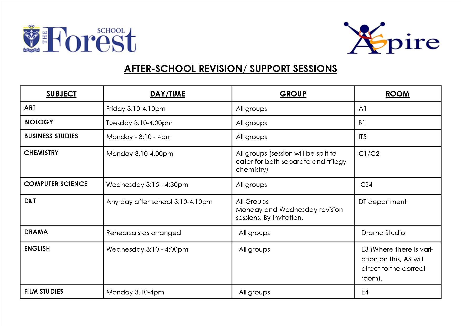 After school revision sessions march 2019