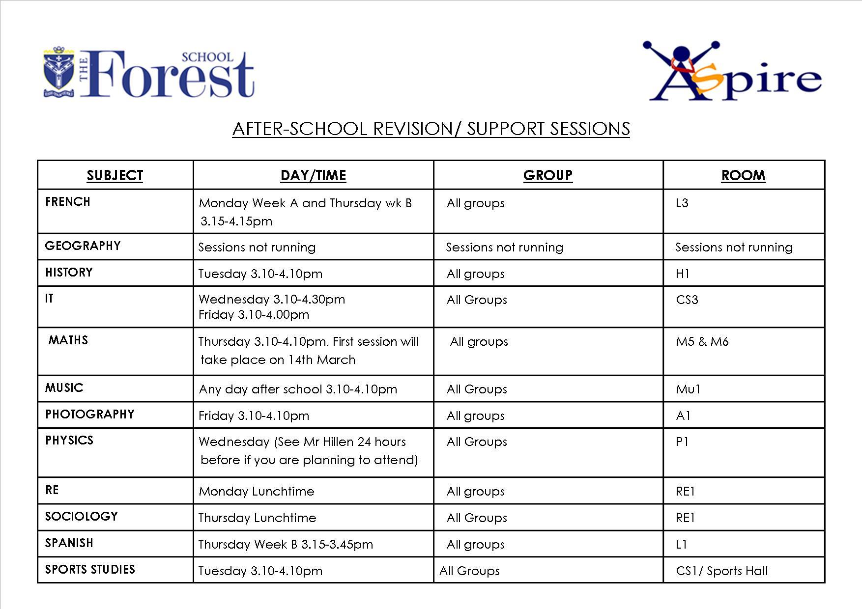 After school revision sessions march page 2 2019
