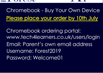 Chromebook - BYOD order by 10th July
