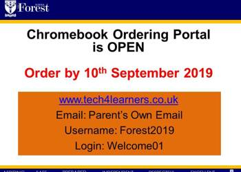 Chrombook - BYOD Deadline 10th September 2019