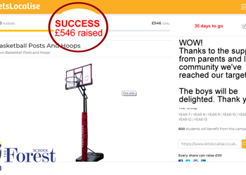 Wow! We've done it! We've raised £546 for new Basketball hoops and posts