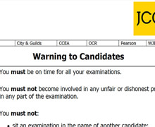 JCQ warning to candidates